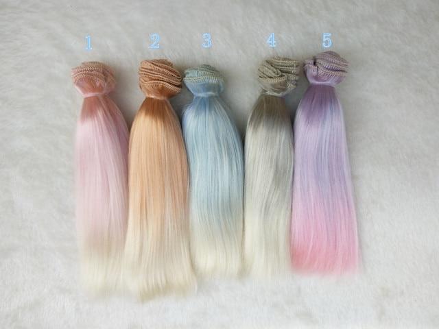 Perruques de poupée BJD 15cm * 100cm perruques dimitation mohair dégradé de cheveux pour 1/3 1/4 1/6 BJD SD Blyth poupées perruques de poupée Chole
