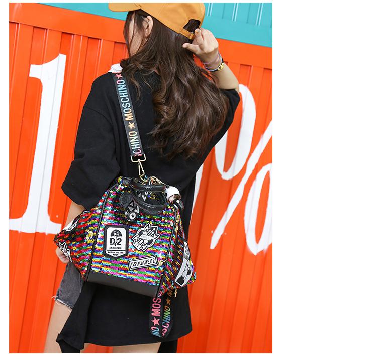 backpack women Fashion Women Bling Shiny Sequins Sparkling Shoulder Bags Larger Capacity Drawstring Bag backpack 73