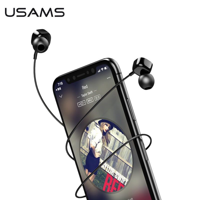 USAMS EP-21 in-ear Square Small Earphone Stereo Headset 1.2m 3.5mm inear Wired Earphones With Microphone s what stylish universal 3 5mm jack wired in ear stereo headset w microphone black white