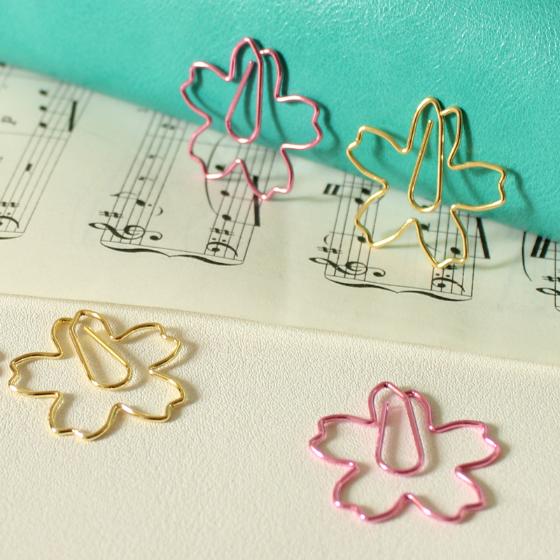 3PCS Cherry Blossoms Bookmark,  Japanese Creative Hollow Metal Pins Clip, Personal Ring Binder Clips Accessories