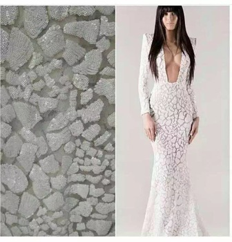Free Shipping!!! high quality sequin guipure Lace /Sequins french lace/water soluble african lace fabric White Silver