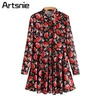 Artsnie Elegant Red Boho Floral Print Mini Dress Women Spring 2018 Long Sleeve Short Pleated Ladies