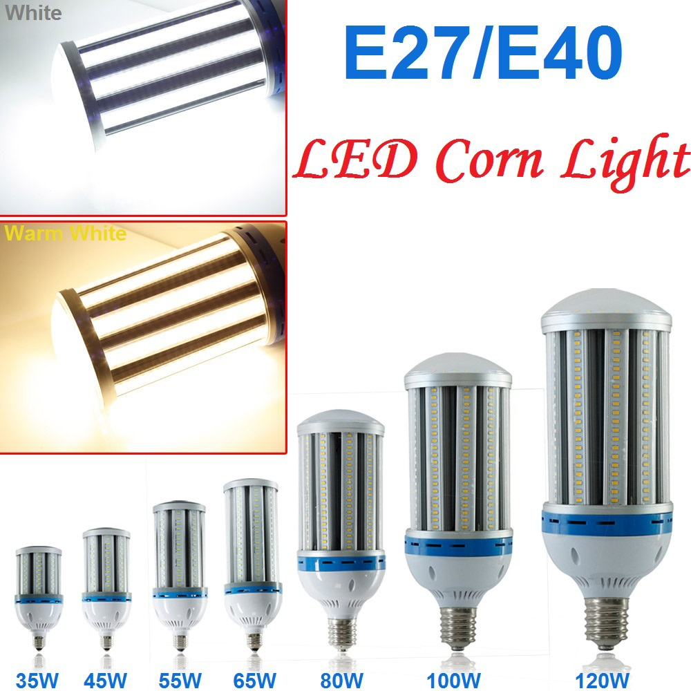 2015 E27/E40 AC85-265V 5730SMD leds 35W/45W/55W/65W/80W/100W/120W LED Corn Light Bulb White/Warm White High Power Lamp Lighting