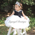 Hand-Beaded Neckline & Sleeve Girl Dress Big Ribbon Bow belt Girls Party Wedding Dresses for Christmas Kids Dress 3-8T