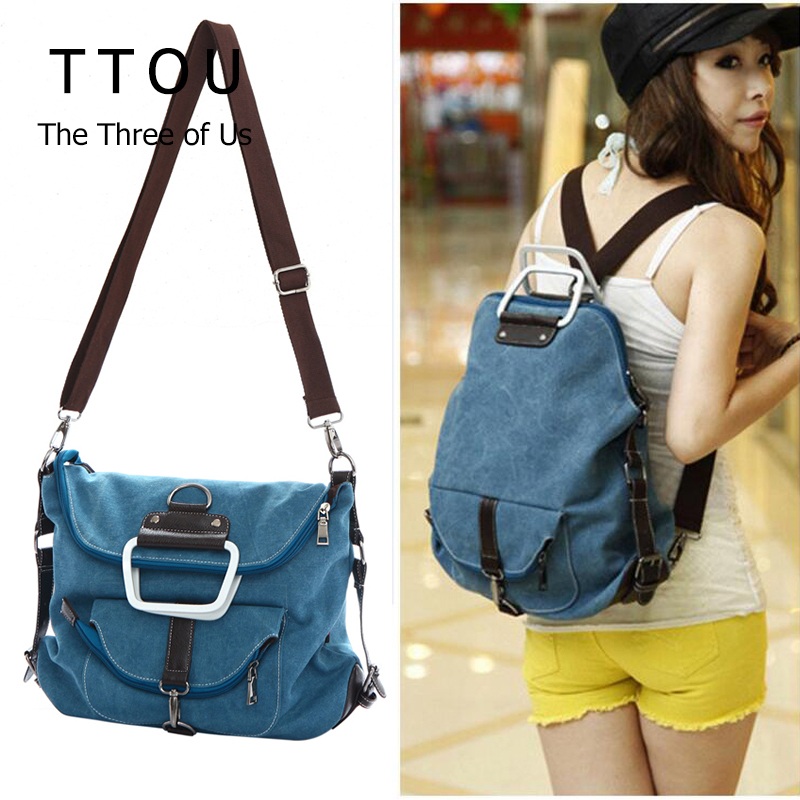 TTOU Fashion Women Canvas Backpack Large Shoulder School Bags For Teenagers Girls Daily Backpack Ladies Casual Solid Bag