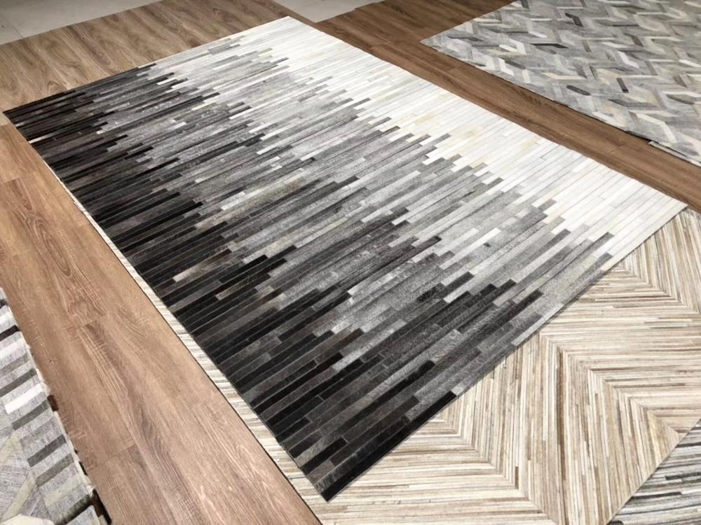 Modern Gray Mixture Cow Skin Patchwork Rug Natural Cowhide Carpet