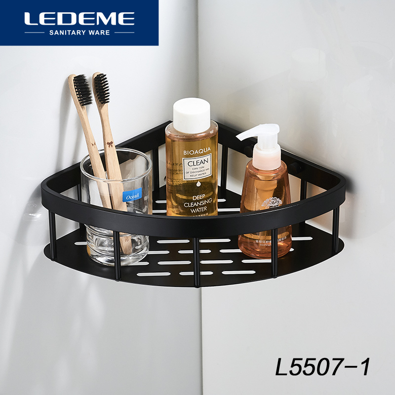LEDEME Shelf Shower Aluminum Shelves Bathroom Shelf Shower Shelf Shampoo Holder Bolt Inserting Type Shower Basket L5507-1