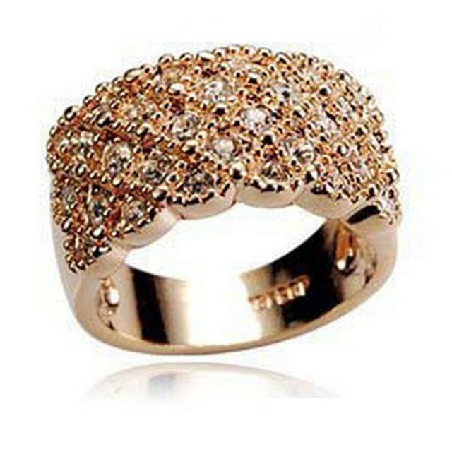Hot Selling Women Girl Elegant Shine Full Rhinestone Ring Stainless Wide Band Go