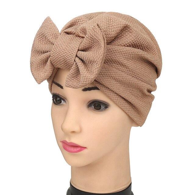 Moda mujer algodón árabe elástico musulmán bowknot sombrero indio turbante  sombreros gorros multicolor sólido gorras 8c4aeef8332