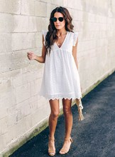 Women Summer Sexy V-Neck Dress Hollow Out Ladies Solid White Beach Loose Mini Dresses