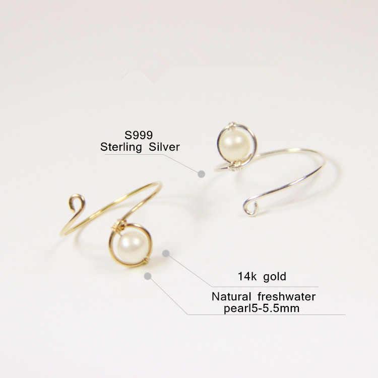 PINJEAS wire w rapธรรมชาติมุกน้ำจืดเปิดที่ทำด้วยมือที่เต็มไปด้วยแหวนวินเทจของขวัญหญิงชี้แจงเครื่องประดับแฟชั่น
