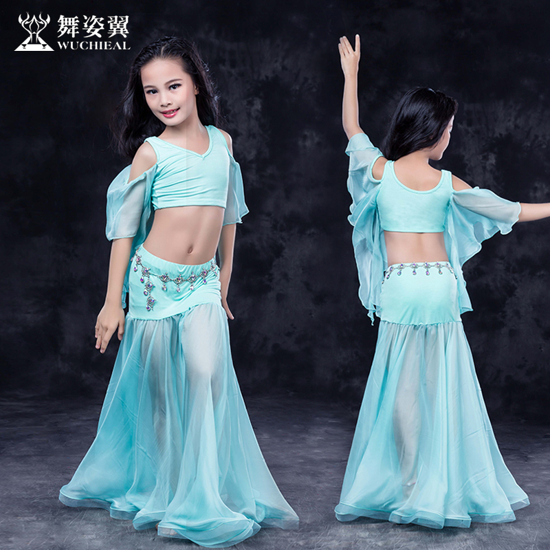 Hot Sale New Oriental Dance Costumes Wuchieal Kids Girls Belly Dance Costume Top+skirt Suits Performance Clothes RT155