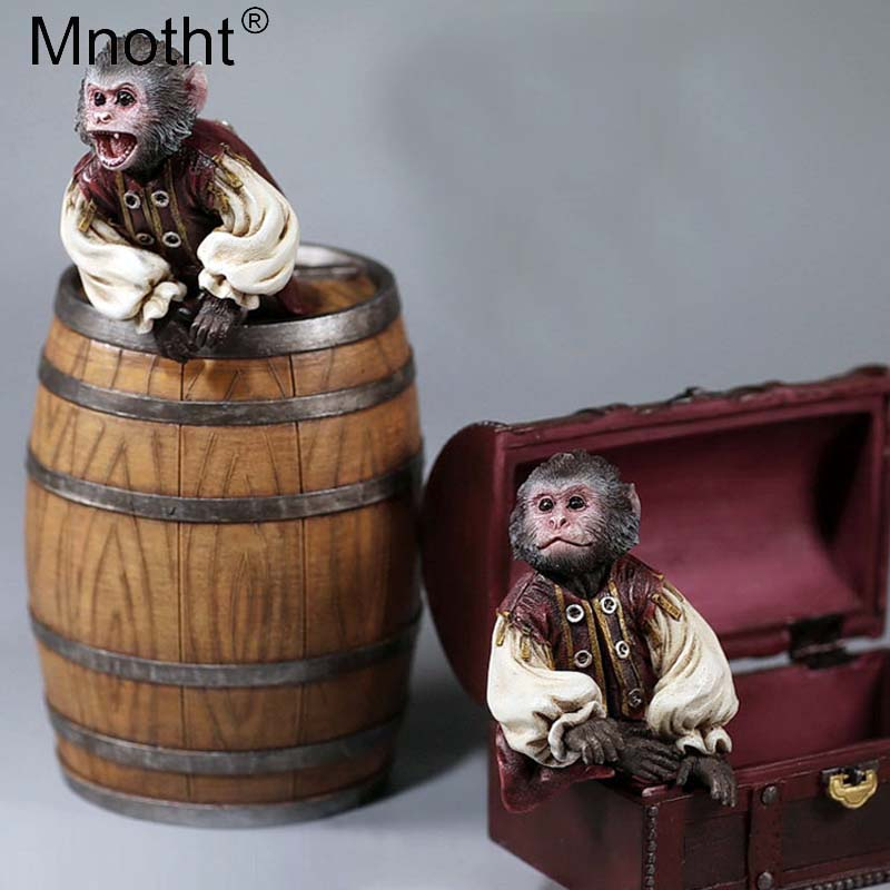 Mnotht 1/6 Captain Jack Monkey Model Pirate Monkey Wine Barrel Treasure Box House Animal Model For 12in Action Figure Scene Toys pirate jack looks for treasure
