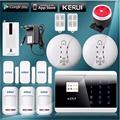 KERUI English/France/Spanish/Russian Touch Keypad LCD Display GSM PSTN Home Securery Voice Alarm system ios/Android app control