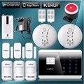 KERUI Inglês/França/Espanhol/Russo Teclado de Toque Lcd GSM PSTN Casa Securery ios do sistema de Alarme Por Voz/Android app controle