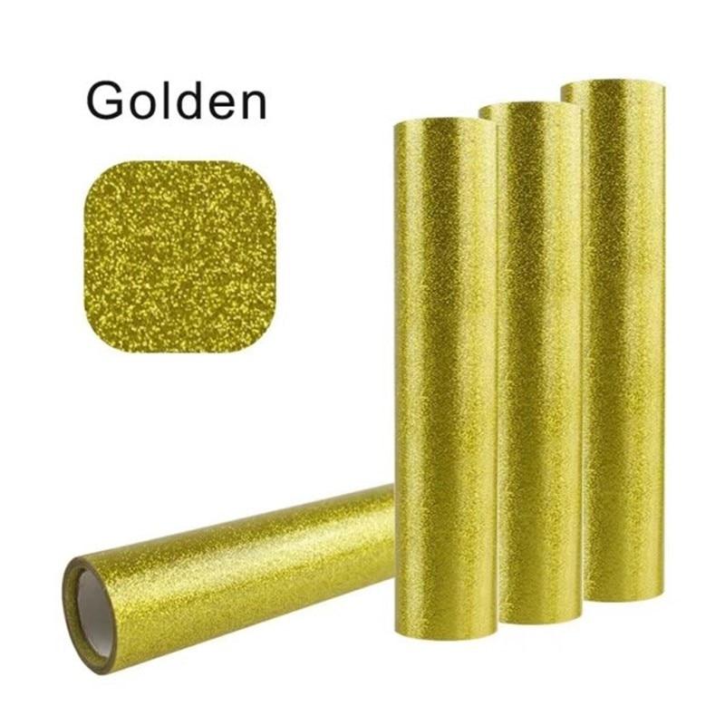 0.5m*15m Glitter Heat Transfer Vinyl For Clothing Golden Color Cuttable Pu Flex Vinyl Film For T-shirt Iron On Vinyl