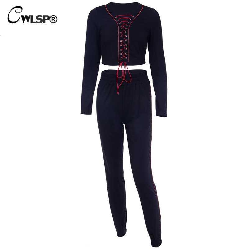 CWLSP 2018 Модный женский костюм из двух предметов со шнуровкой в стиле хип-хоп, спортивный костюм с вырезами, укороченный топ и штаны, брюки в полоску в стиле пэчворк, QA2831