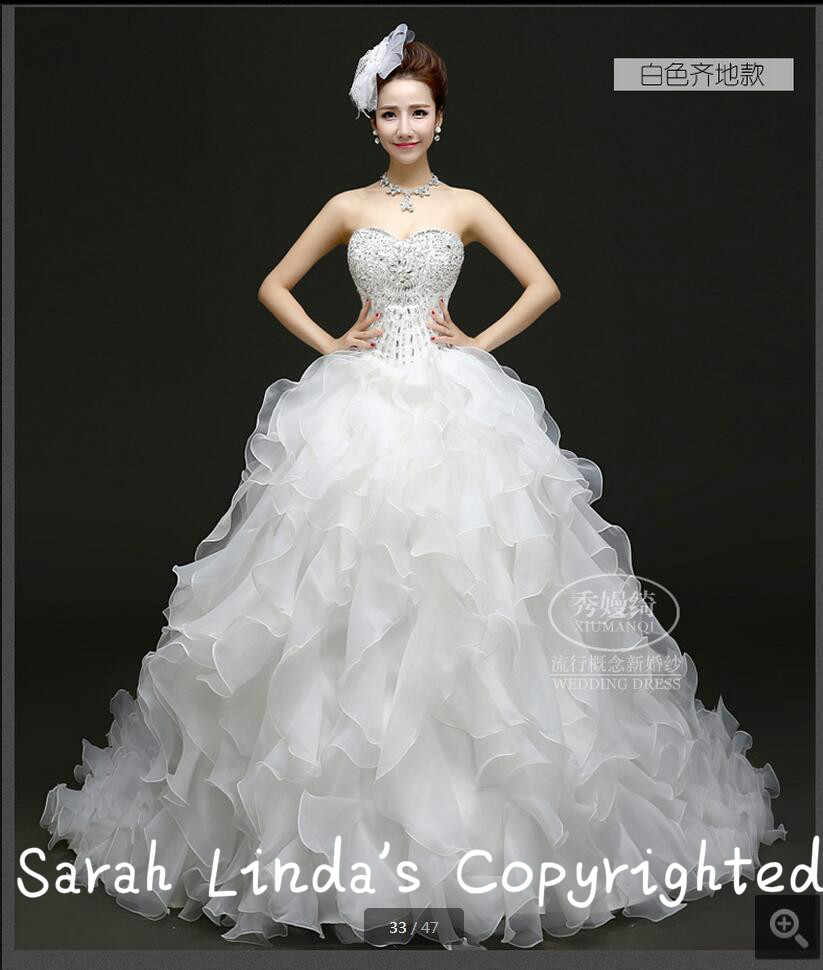 אטרקטיבי-סיטונאי כדור שמלה אדום/לבן אורגנזה פרע את שמלת כלה חתונה גבישי אגלי סטרפלס כבדות על מכירה
