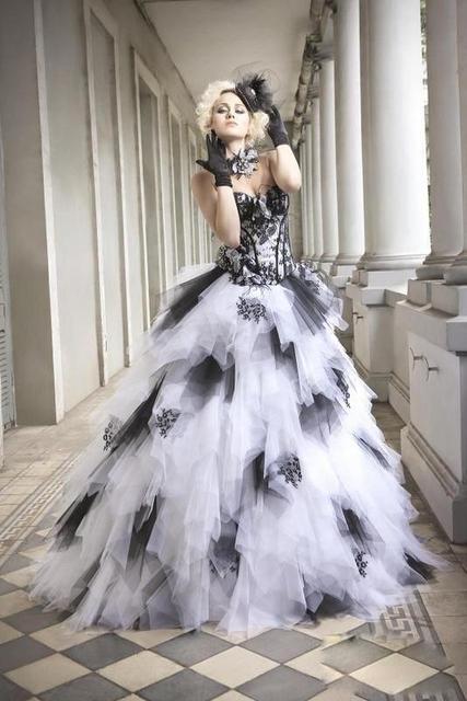 Latest Style New Custom White And Black Wedding Dresses 2016