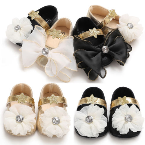 Pudcoco Newborn Infant Baby Girl Princess Shoes Toddlers PU Leather Cute Girls First Walkers Party Shoes 0-18M