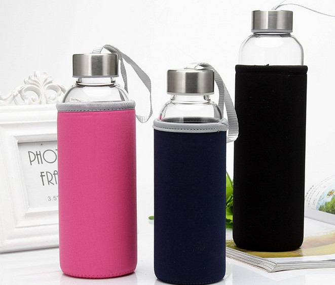 1PC Portable Glass Water Juice Bottle Protective Carry Bag Drinking Filter in Home Outdoor Travelling KD 1464