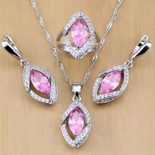 925 Sterling Silver Jewelry Sets Mystic Pink Zircon White Crystal For Women party Earrings/Pendant/Necklace/Rings elegant crystal zircon pendant necklace silver white red