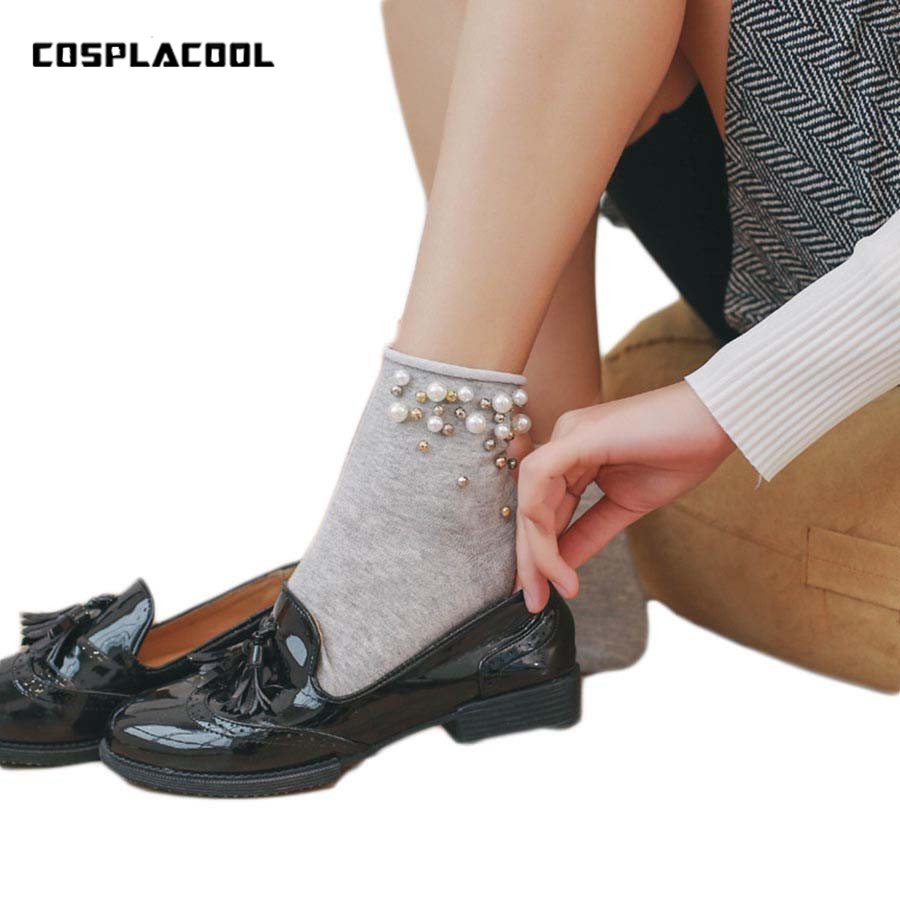 [COSPLACOOL]New Handmade Pearl Gold Silver Cute Fashion Cotton Edge   Socks   Women Funny Short Meias Girl Harajuku Calcetines Mujer
