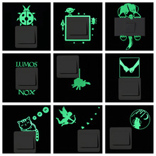 Green-light Luminous Switch Sticker Home Decor Cartoon Glowing Wall Stickers Dark Glow Decoration Sticker, Cat/Fairy/Moon Stars