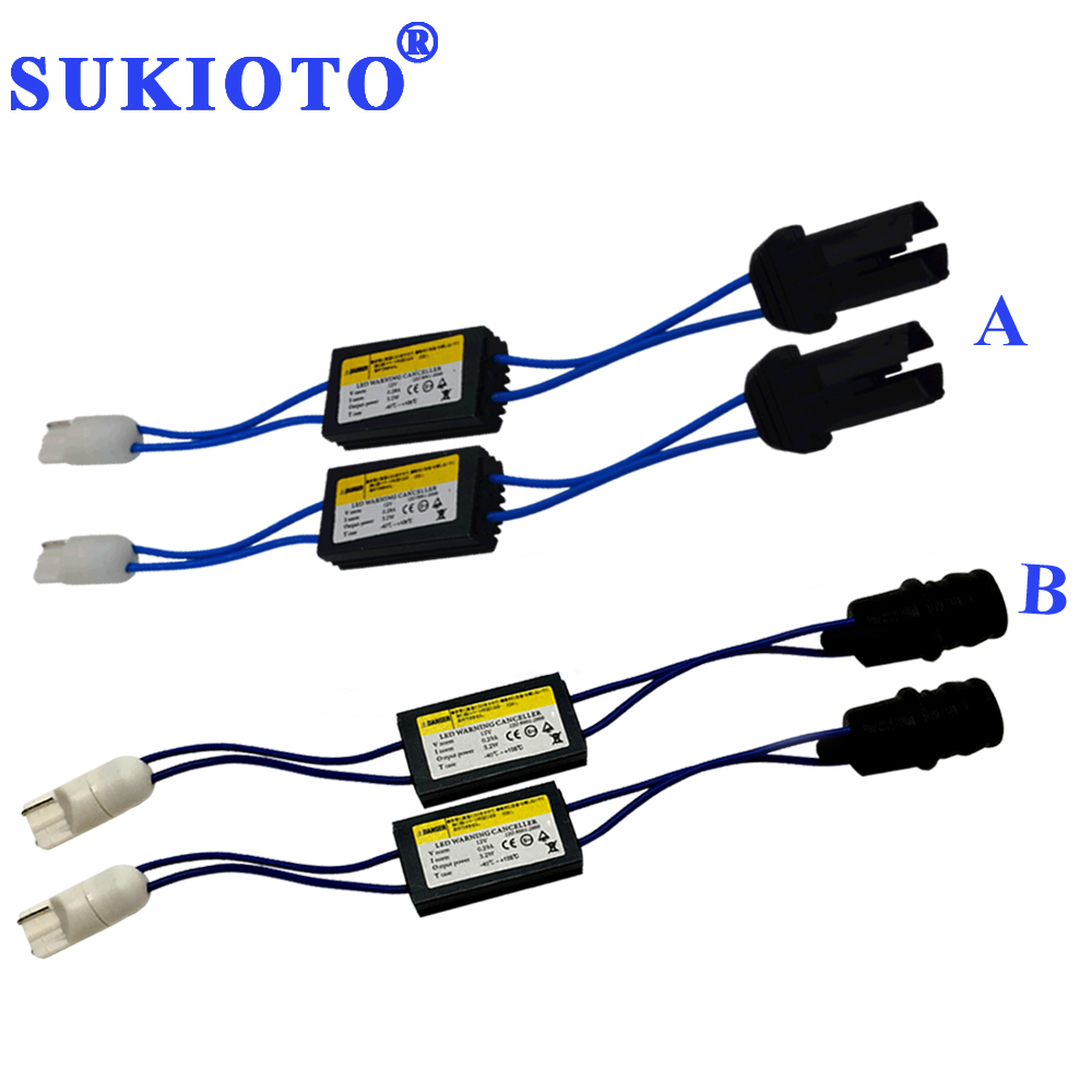 SUKIOTO 1 Pair Soft Hard W5W T10 Canbus Load Resistor Canbus Canceller For Led Lights T10 Purple 168 194 Led Decoder Socket Plug