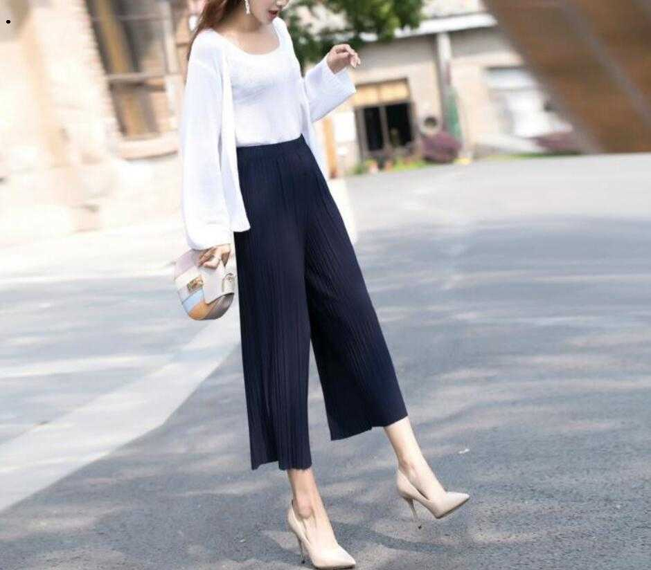 Pant Geplooide chiffon wijde pijpen broek vrouwelijke zomer 2018 nieuwe Koreaanse versie van negen hoge taille losse losse mm broek