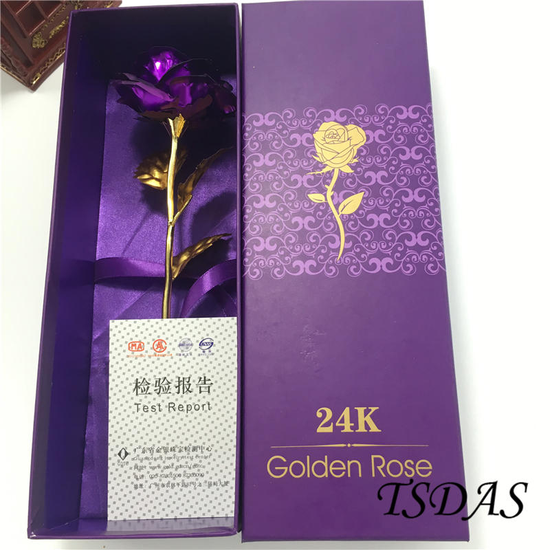 1pc Kreatywny prezent walentynkowy 24K pozłacane Rose Purple Rose Flower Romantic For Lover Girlfriend