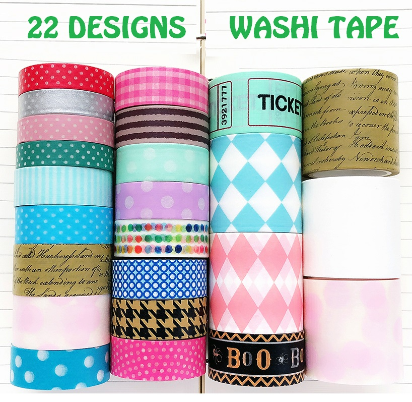 22 Designs Letters/Stripe/Lace/Spots/Basic Pattern Japanese Washi Tape Decorative Adhesive DIY Masking Paper Tape Stickers Label