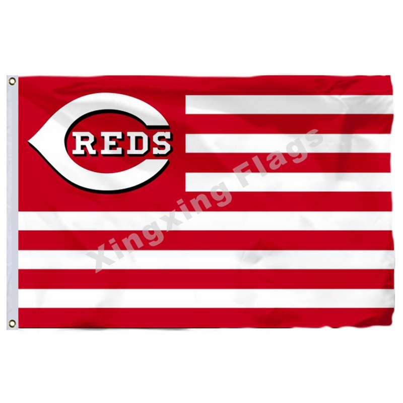 Cincinnati Reds New Nation Flag Stripe 3ft X 5ft Polyester MLB Cincinnati Reds Banner Flying Size No.4 144* 96cm Custom