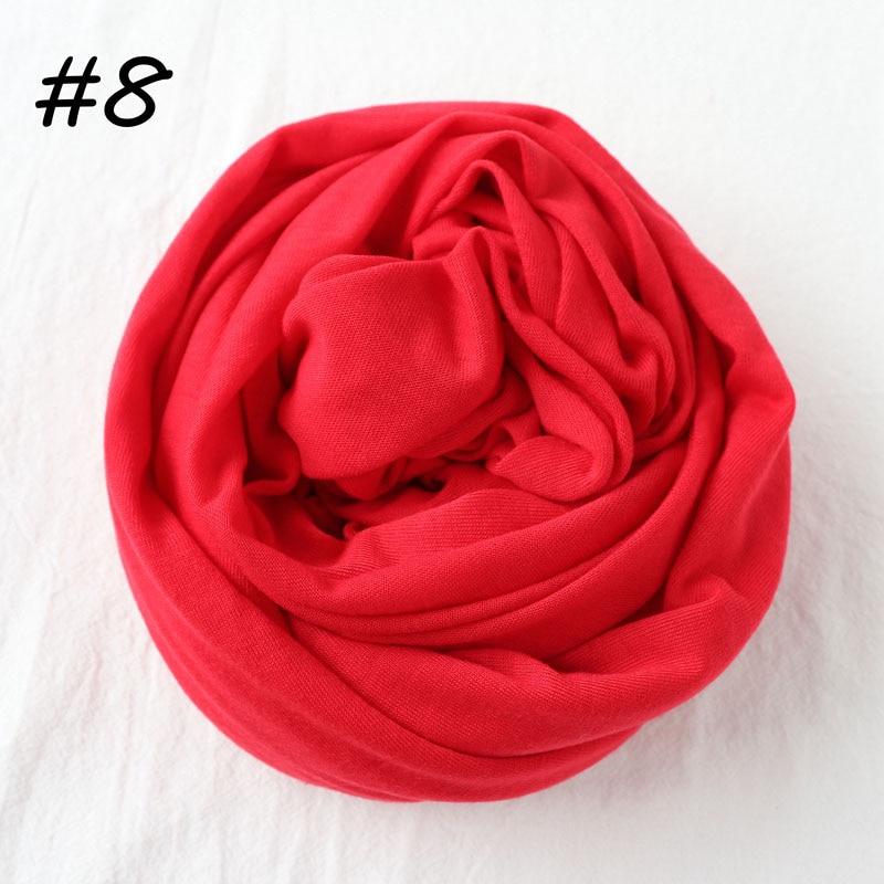 Один кусок Хиджаб Женский вискозный Джерси-шарф Мусульманский Исламский сплошной простой Джерси хиджабы Макси шарфы мягкие шали 70x160 см - Цвет: 8 red