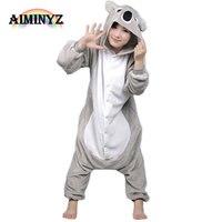 2017 Koala Unisex Erwachsene Lässige Flanell Mit Kapuze Pyjamas Sets Cartoon Cute Animal Onesies Nachtwäsche Homewear Für Frauen Männer Paar