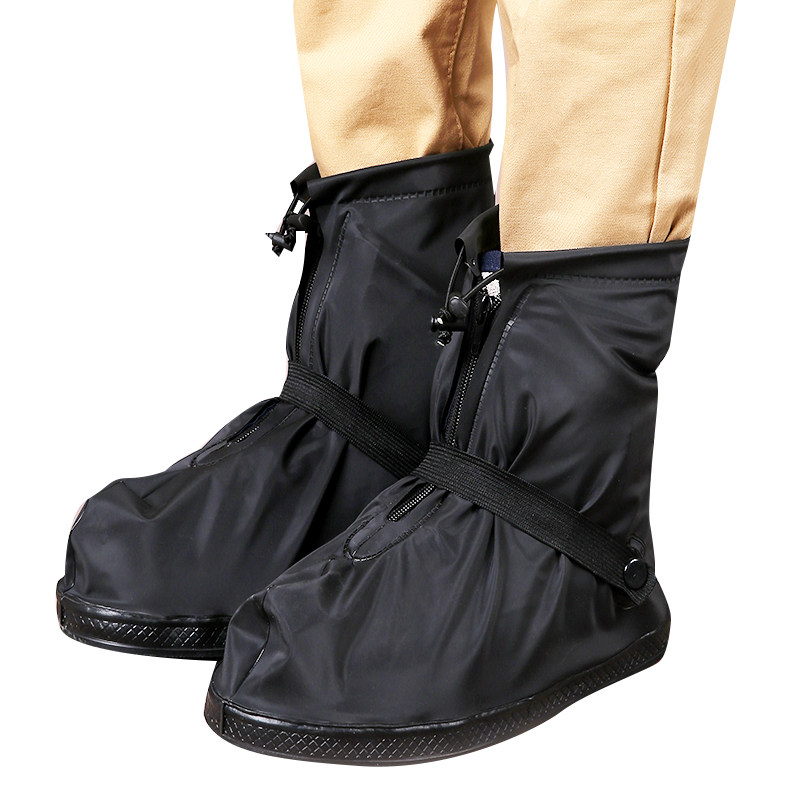 Freesmily Black White Thick Antislip Soles Rain Shoe Covers for Hiking Cycling Reusable ...