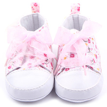 Baby Little Princess Shoes Newborn Kids Baby Girl Riband Lace-Up Anti-slip Floral Cotton Sneaker Prewalker Shoes 0-18M