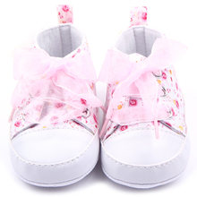 Baby Little Princess Shoes Newborn Kids Baby Girl Riband Lace-Up Anti-slip Floral Cotton Sneaker Prewalker Shoes 0-18M(China)