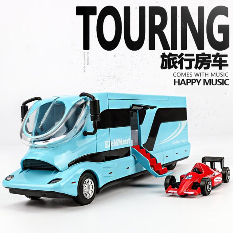 Luxury DIY RV Car Model Toy Alloy Metal Diecast Car caravan touring bus business car with furniture sound light Collection toys