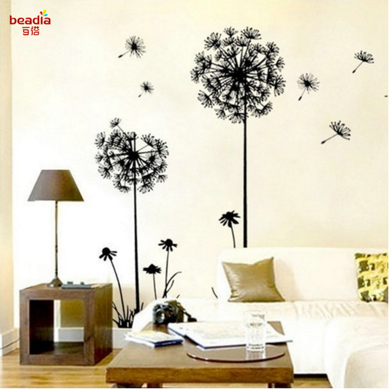 Fashion Dandelion Wall Stickers Vinyl TV Background Stickers Living Room Hotel Office Decoration Wall Stickers