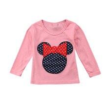 Новинка, детская одежда Повседневная футболка для девочек с длинными рукавами и узором в горошек; блузки милый мультфильм Животные приятные пуловеры футболка