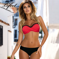 Lefeel Lace Bandege Patchwork Bikinis Sexy Push Up Swimwear Women Plus Size Bathing Suit Solid Bikini
