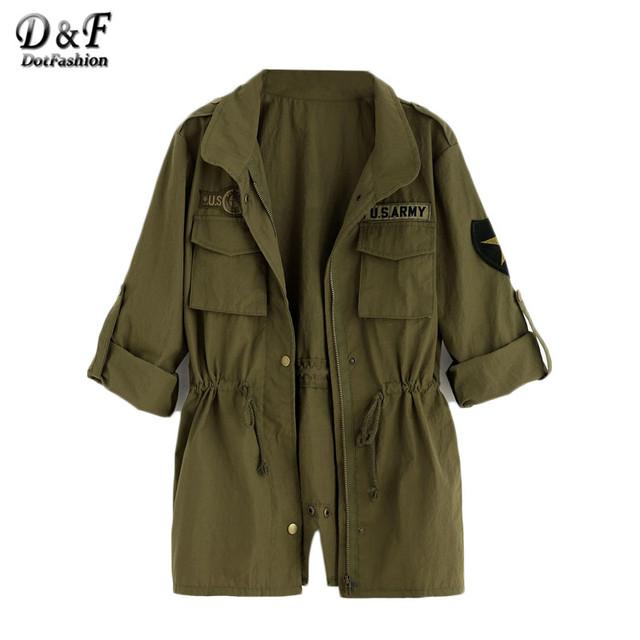 Dotfashion Verde Del Ejército Impreso Volver Cordón de La Cintura Utility prendas de Vestir Exteriores de Las Mujeres de Solapa de Manga Larga Bolsillos del Abrigo
