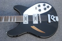 Classic custom electric guitar, pure black, free delivery, premium jazz 12 string electric guitar.
