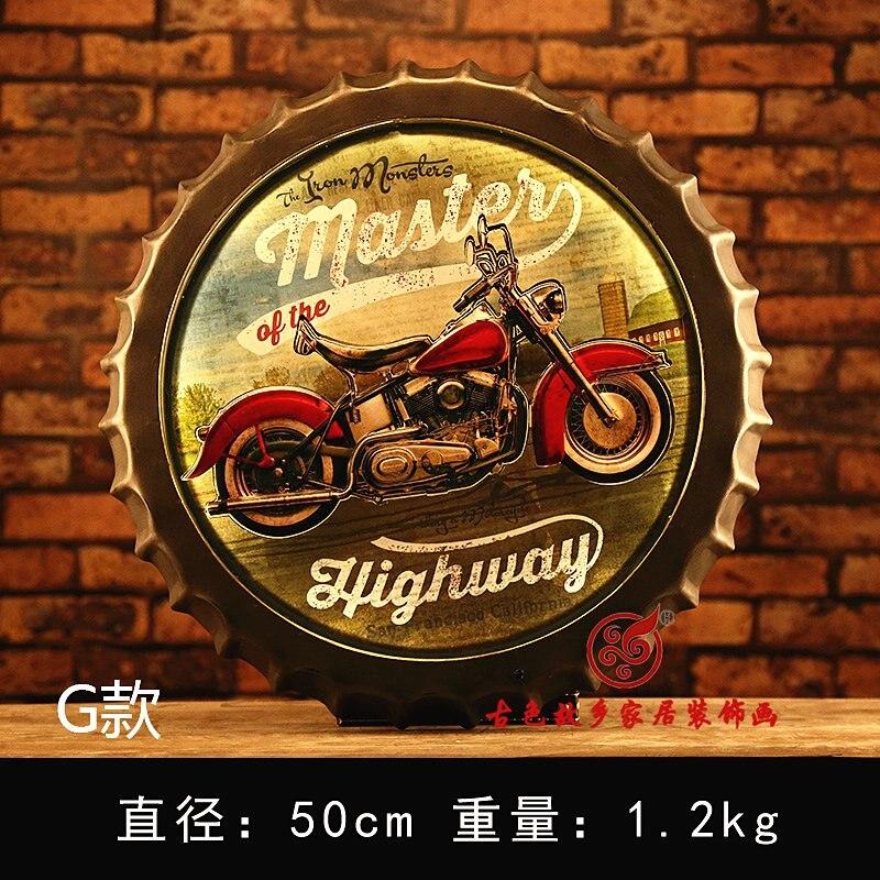 Moto grande HD bière couverture étain signe Logo Plaque Vintage métal peinture mur autocollant fer signe Bar KTV magasin décoratif 42 CM