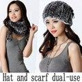 Новый Кролик меховая шапка мода теплую шапку шарф двойного назначения
