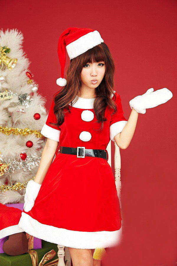 Buy Sexy Lingerie Red White Hat Dress Belt Gloves Set Christmas Santa Claus Cosplay Clothes 2017 Hot Babydoll Costumes