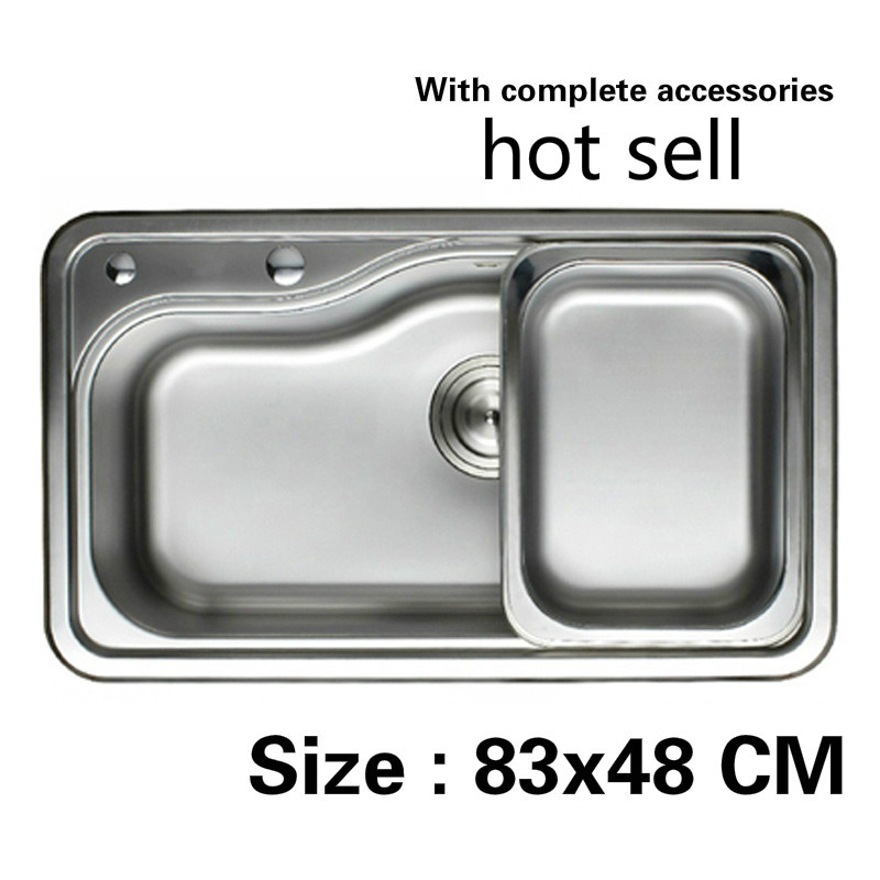 Free shipping Large kitchen sink 0.8 mm food grade 304 stainless steel standard single slot vogue hot sell 83x48 CMFree shipping Large kitchen sink 0.8 mm food grade 304 stainless steel standard single slot vogue hot sell 83x48 CM