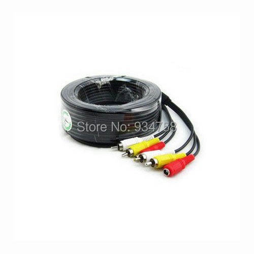 Home 20M Audio Video 66FT RCA Power AV Cable For CCTV Camera Security DVR System