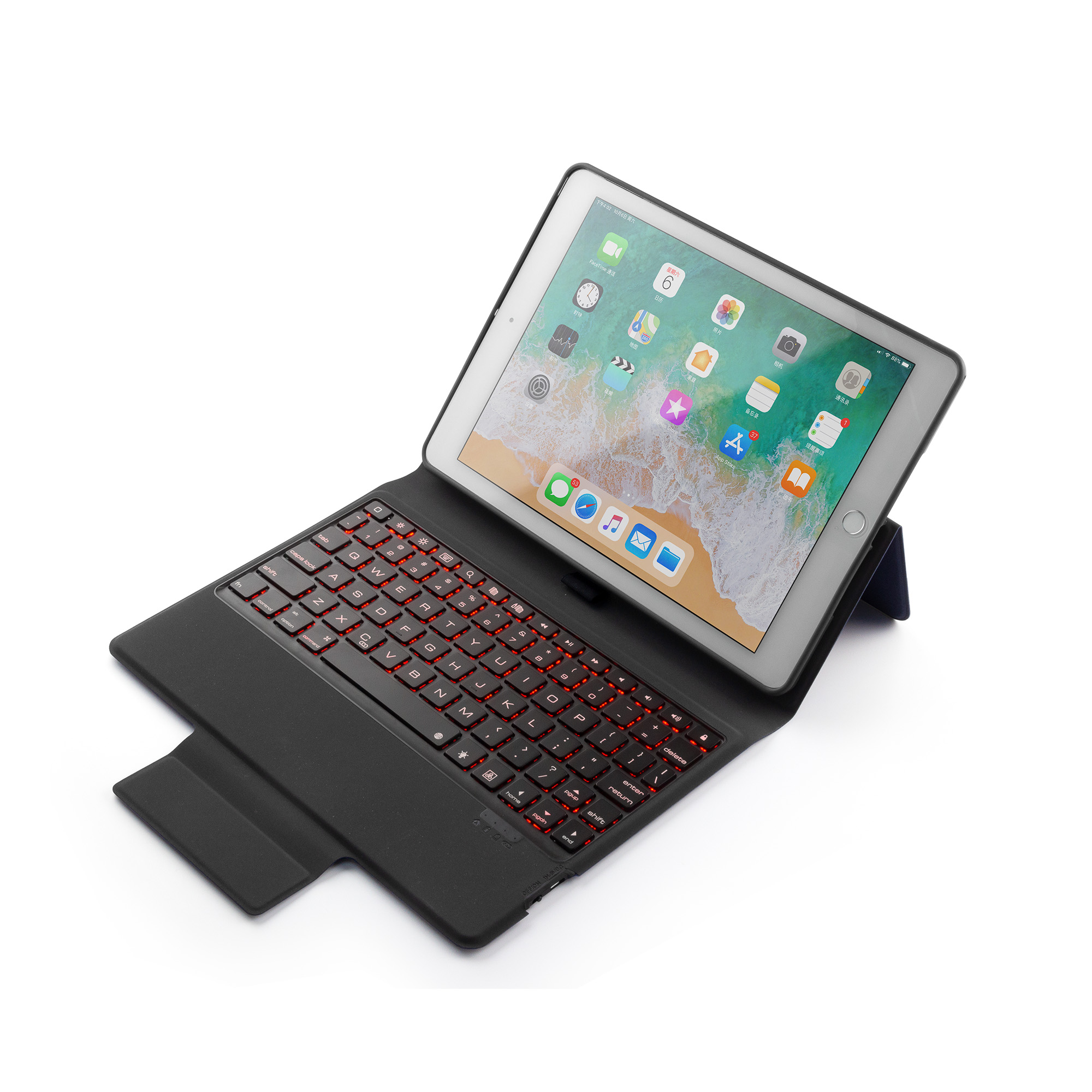 NEW Wireless Bluetooth Keyboard Leather Case For IPad Air 2 Pro 9.7 Inch 2018 With Colorful LED Backlight